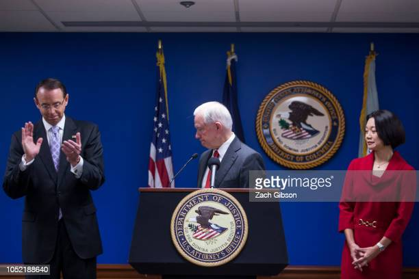 S Attorney General Jeff Sessions concludes a news conference on efforts to reduce transnational crime at the US Attorney's Office for the District of...