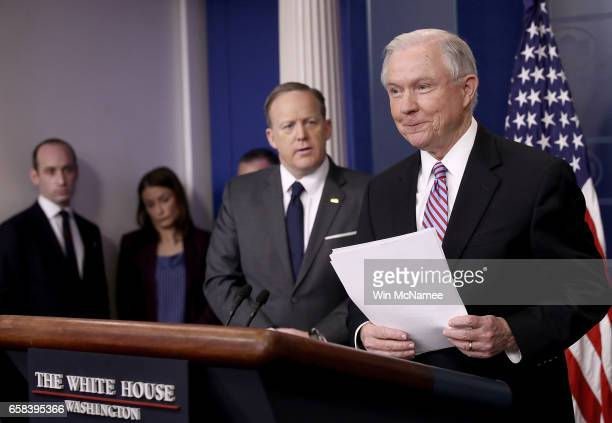 S Attorney General Jeff Sessions delivers remarks during the daily White House press briefing March 27 2017 in Washington DC Sessions announced new...