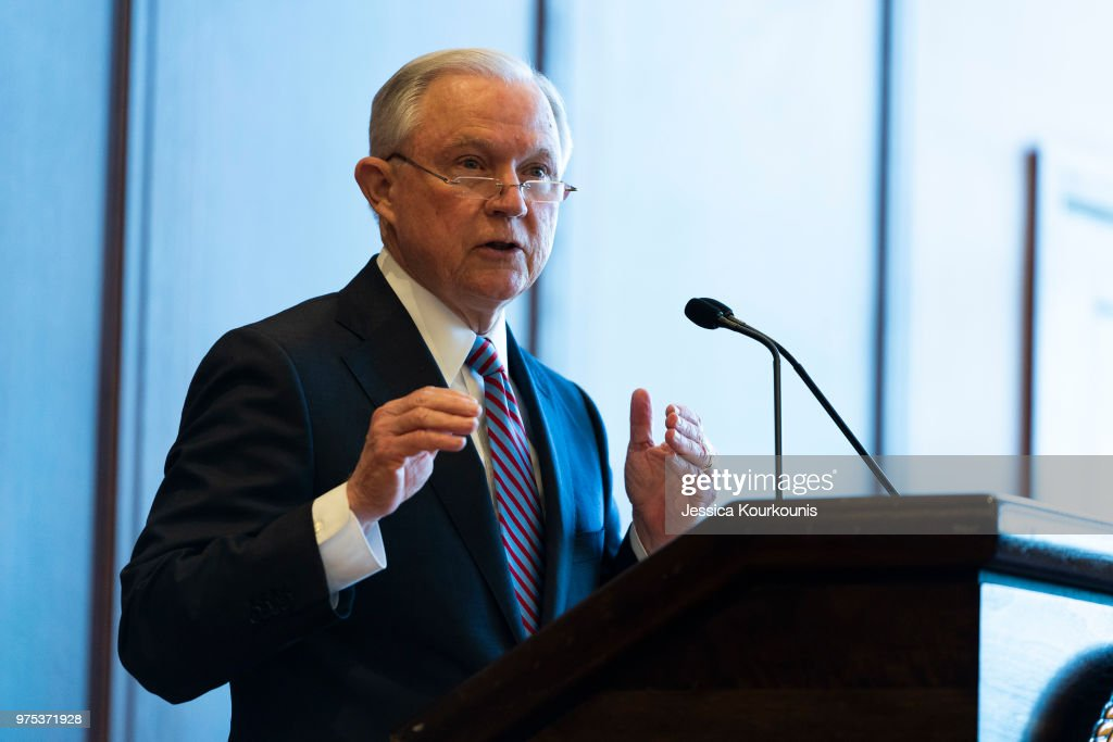 U.S. Attorney General Jeff Sessions delivers remarks on immigration and law enforcement actions on at Lackawanna College June 15, 2018 in Scranton, Pennsylvania. The audience was an invited a group of federal, state and local law enforcement as well as local police academy cadets.