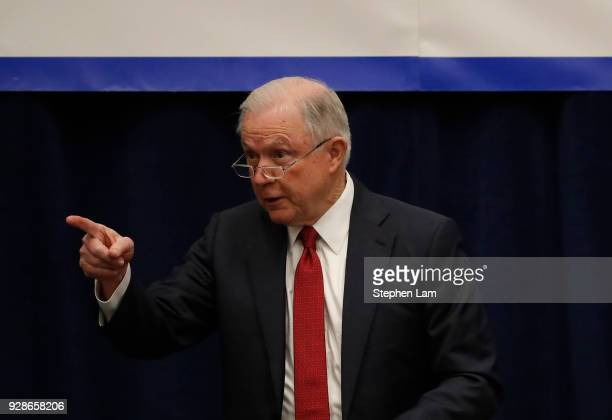 Attorney General Jeff Sessions gestures as he speaks at the California Peace Officers' Association 26th Annual Law Enforcement Legislative Day on...