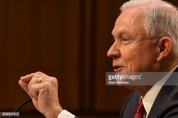 Attorney General Jeff Sessions gestures as he testifies before the Senate Intelligence Committee, Washington DC, June 13, 2017.