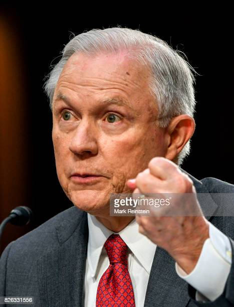 US Attorney General Jeff Sessions gestures as he testifies before the Senate Intelligence Committee Washington DC June 13 2017