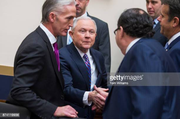 Attorney General Jeff Sessions greets Reps Blake Farenthold RTexas right and Trey Gowdy RSC left upon arriving to testify before a House Judiciary...