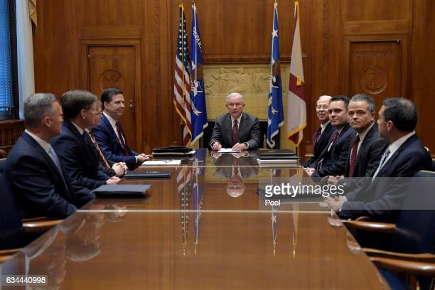 Attorney General Jeff Sessions holds a meeting with the heads of federal law enforcement components at the Department of Justice February 9 2017 in...