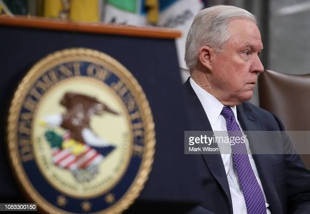 S Attorney General Jeff Sessions participates in the first National Opioid Summit at the Justice Department on October 25 2018 in Washington DC