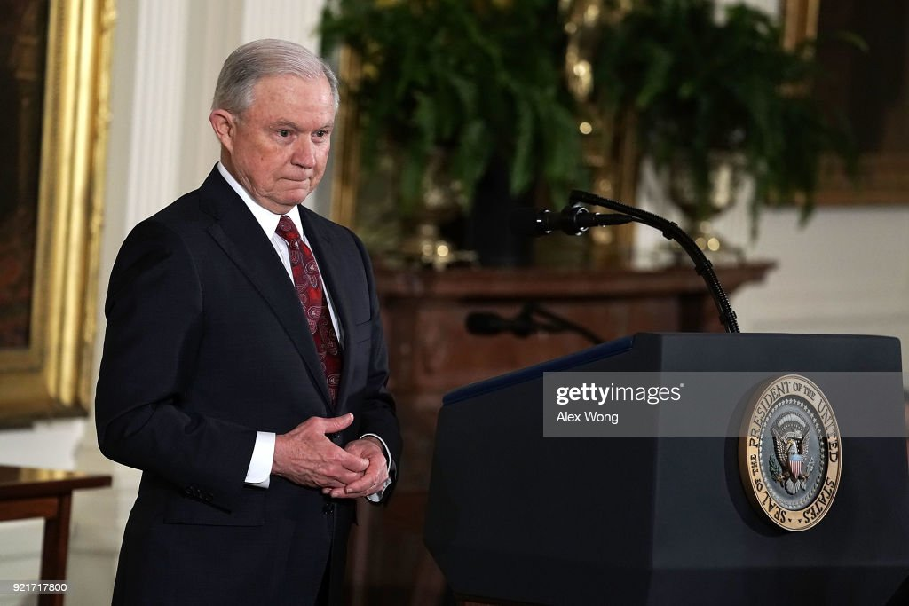 U.S. Attorney General Jeff Sessions pauses during a Public Safety Medal of Valor award ceremony at the East Room of the White House February 20, 2018 in Washington, DC. The medal is the nation's highest award to public safety officers who have 'exhibited exceptional courage, regardless of personal safety, in the attempt to save or protect human life.'