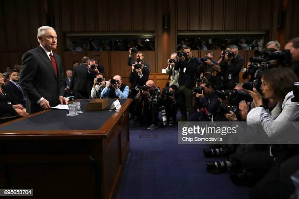 S Attorney General Jeff Sessions prepares to testify before the Senate Intelligence Committee about Russian interference in the 2016 presidential...