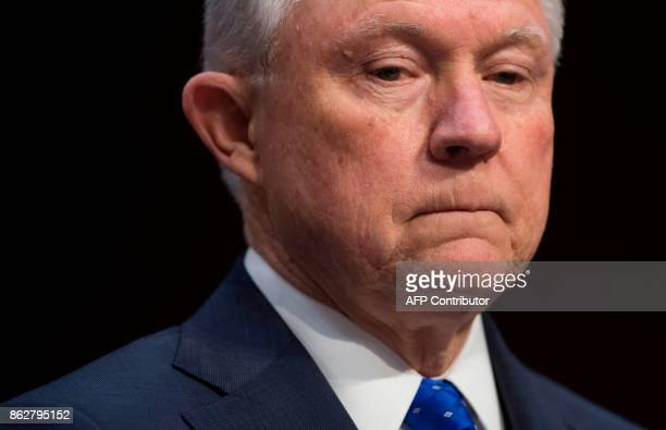 Attorney General Jeff Sessions reacts as he testifies during a Senate Judiciary Committee hearing on Capitol Hill in Washington DC on October 18 2017...
