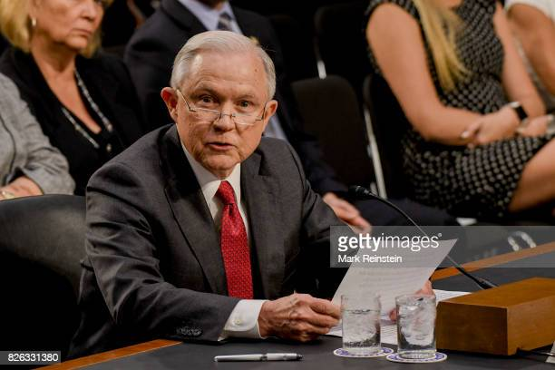 Attorney General Jeff Sessions reads an opening statement as he testifies before the Senate Intelligence Committee, Washington DC, June 13, 2017.