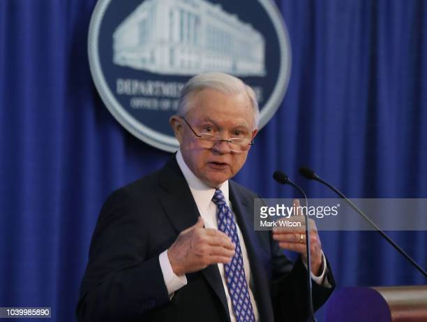 Attorney General Jeff Sessions walks away after speaking about the opioid crisis during the National Institute of Justice Opioid Research Summit at...