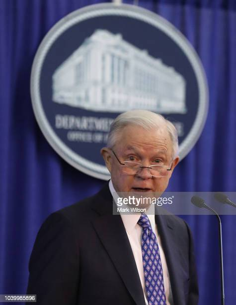 Attorney General Jeff Sessions speaks about the opioid crisis during the National Institute of Justice Opioid Research Summit at the Office of...