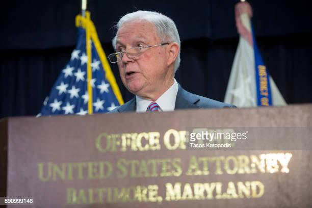 Attorney General Jeff Sessions speaks at a news conference on immigration and efforts to contain violent gangs like MS13 that have spread from Latin...