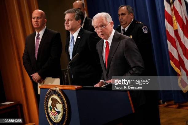 Attorney General Jeff Sessions speaks at a press conference about the apprehension of a suspect in the recent spate of mail bombings at the...