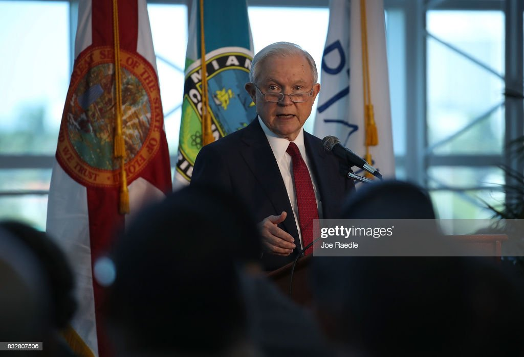 U.S. Attorney General Jeff Sessions speaks at PortMiami on what he said is a growing trend of violent crime in sanctuary cities on August 16, 2017 in Miami, Florida. The speech highlighted jurisdictions like Miami-Dade that Mr. Sessions told the audience have increased their cooperation and information sharing with federal immigration authorities and have demonstrated a fundamental commitment to the rule of law and lowering violent crime.