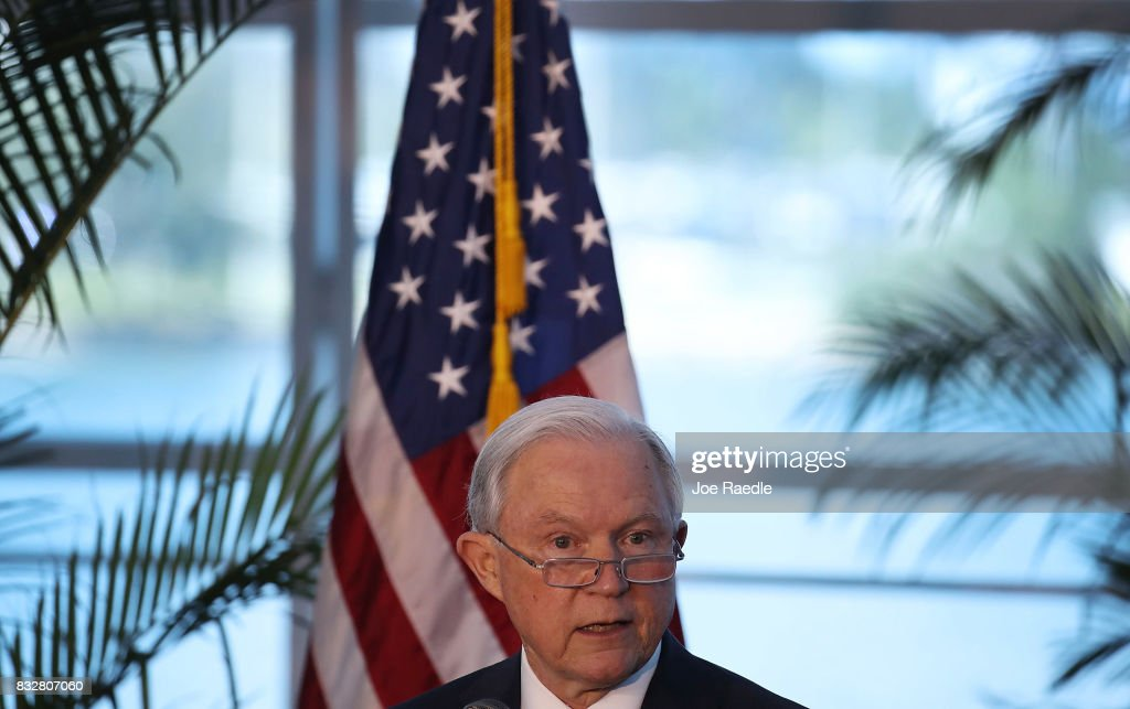 U.S. Attorney General Jeff Sessions speaks at PortMiami on what he sees is a growing trend of violent crime in sanctuary cities on August 16, 2017 in Miami, Florida. The speech highlighted jurisdictions like Miami-Dade that Mr. Sessions told the audience have increased their cooperation and information sharing with federal immigration authorities and have demonstrated a fundamental commitment to the rule of law and lowering violent crime.