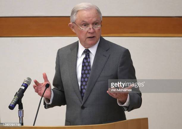 S Attorney General Jeff Sessions speaks at the Bureau of Alcohol Tobacco Firearms and Explosives September 12 2018 in Washington DC Sessions was...