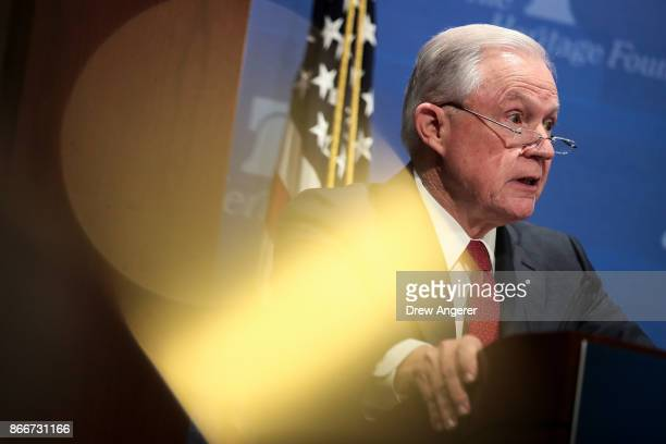 S Attorney General Jeff Sessions speaks at the Heritage Foundation's Legal Strategy Forum October 26 2017 in Washington DC His remarks focused on...