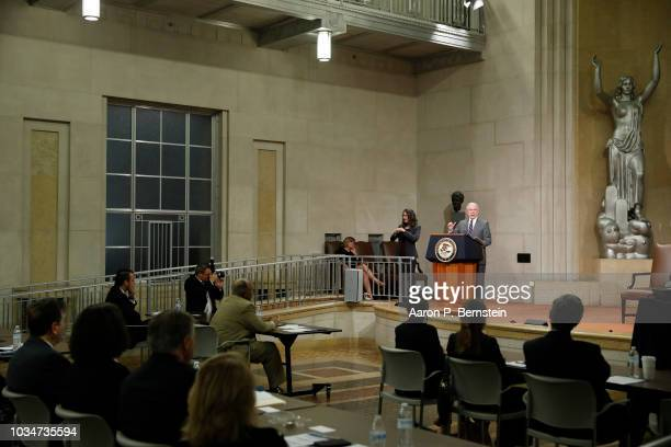 Acting Assistant Attorney General for Civil Rights John Gore speaks at the Justice Department September 17 2018 in Washington DC Attorney General...