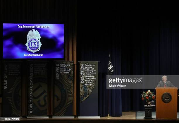 Attorney General Jeff Sessions speaks during a Drug Enforcement Agency graduation ceremony for new Special Agents on January 26 2018 in Quantico...