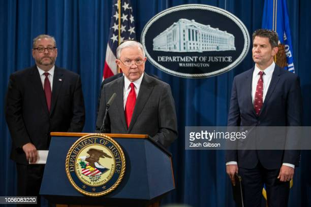 S Attorney General Jeff Sessions speaks during a news conference discussing new criminal law enforcement action against China for economic espionage...