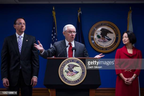 S Attorney General Jeff Sessions speaks during a news conference on efforts to reduce transnational crime at the US Attorney's Office for the...