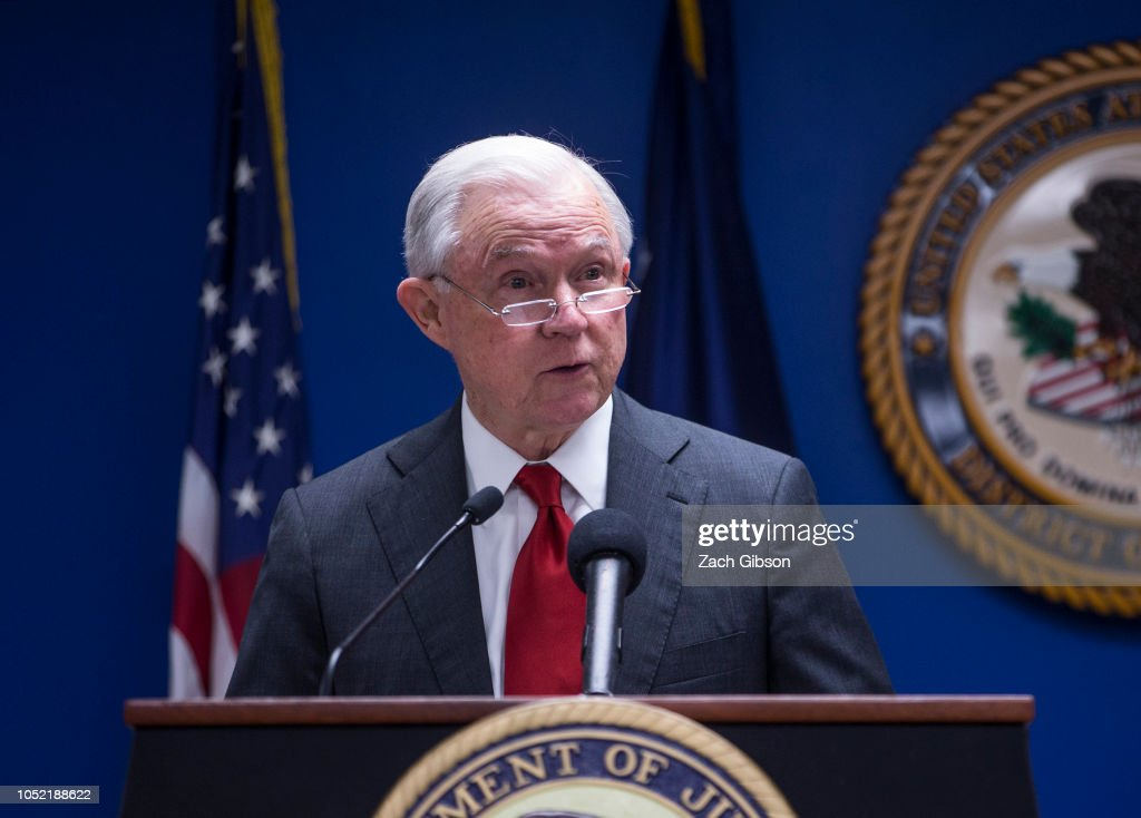 AG Sessions And DAG Rosenstein Make Announcement On Reducing Transnational Crime : News Photo