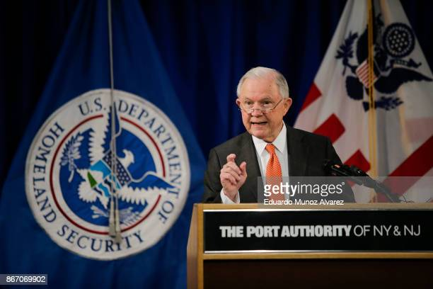 S Attorney General Jeff Sessions speaks during a press conference about combatting the opioid crisis at JFK International Airport on October 27 2017...