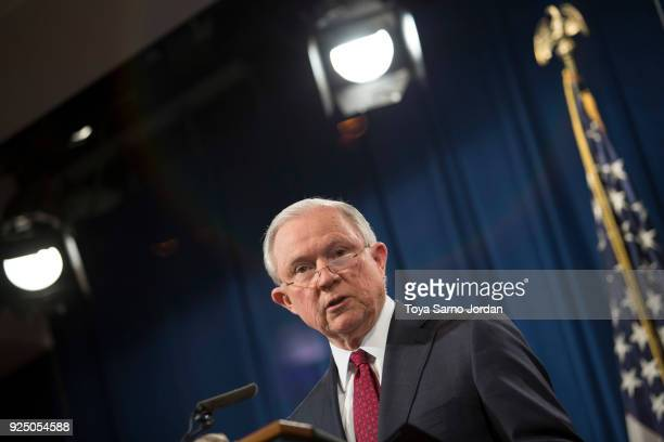 Attorney General Jeff Sessions speaks during a press conference at the Department of Justice in Washington DC on February 27 2018 Sessions introduced...