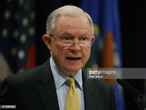 Attorney General Jeff Sessions speaks during a summit to discuss efforts to combat human trafficking at the Justice Department on February 2 2018 in...