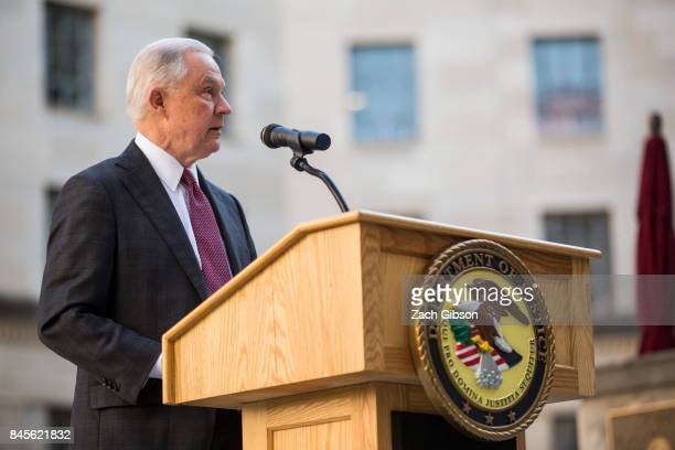 S Attorney General Jeff Sessions speaks during a vigil ceremony marking the September 11 terrorist attacks at the Department of Justice on September...