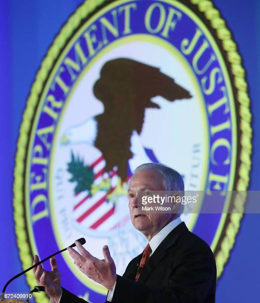 S Attorney General Jeff Sessions speaks during the 2017 Ethics and Compliance Initiative conference at the Marriott Marquis hotel on April 24 2017 in...