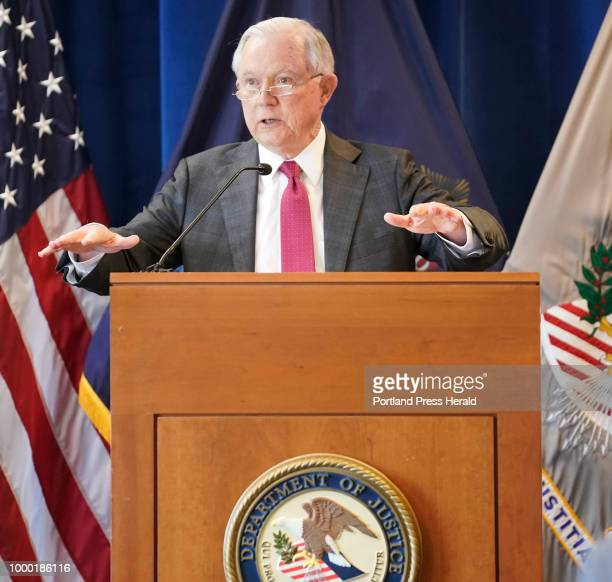 S Attorney General Jeff Sessions speaks to local law enforcement officers at the United States Attorney's Office in Portland on Friday July 13 2018