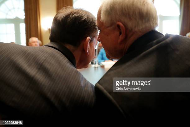 US Attorney General Jeff Sessions talks with Labor Secretary Alex Acosta during a Trump Administration cabinet meeting in the Cabinet Room at the...