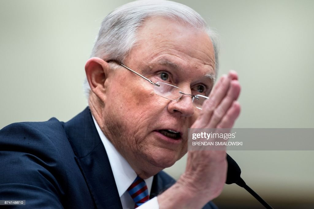 US Attorney General Jeff Sessions testifies before a House Judiciary Committee hearing on November 14, 2017, in Washington, DC. Sessions vowed Tuesday to decide quickly on whether to appoint a special prosecutor to investigate Hillary Clinton's alleged mishandling of classified materials. / AFP PHOTO / Brendan Smialowski