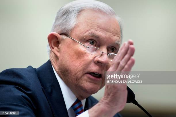 US Attorney General Jeff Sessions testifies before a House Judiciary Committee hearing on November 14 in Washington DC Sessions vowed Tuesday to...