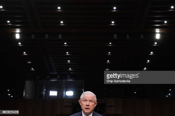 S Attorney General Jeff Sessions testifies before the Senate Judiciary Committee in the Hart Senate Office Building on Capitol Hill October 18 2017...