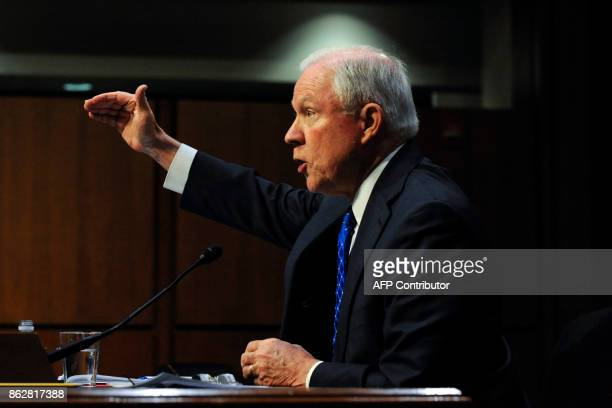 Attorney General Jeff Sessions testifies during a Senate Judiciary Committee hearing on 'Oversight of the US Department of Justice' on Capital Hill...