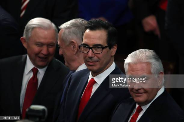 US Attorney General Jeff Sessions US Secretary of Defense Gen Jim Mattis Secretary of the Treasury Steven Mnuchin and US Secretary of State Rex...