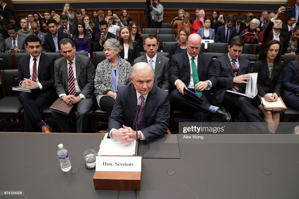 U.S. Attorney General Jeff Sessions waits for the beginning of a hearing before the House Judiciary Committee November 14, 2017 on Capitol Hill in Washington, DC. Sessions is expected to face questions from lawmakers again on whether he had contacts with Russians during the presidential campaign last year.