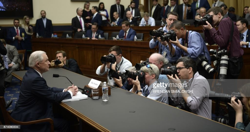 US Attorney General Jeff Sessions (L) waits to testify before a House Judiciary Committee hearing on November 14, 2017, in Washington, DC, on oversight of the US Justice Department. / AFP PHOTO / Brendan Smialowski