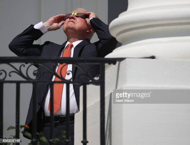 Attorney General Jeff Sessions wears special glasses to view the solar eclipse at the White House on August 21, 2017 in Washington, DC. Millions of...