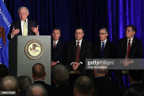 S Attorney General Jeff Sessionsn delivers remarks during the National Summit on Crime Reduction and Public Safety with Bureau of Alcohol Tobacco...