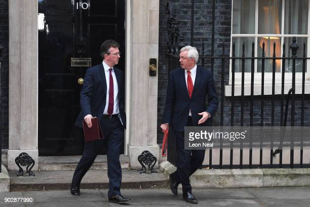 Attorney General Jeremy Wright and Brexit Secretary David Davis leave Number 10 after government ministers attended the first Cabinet meeting of the...