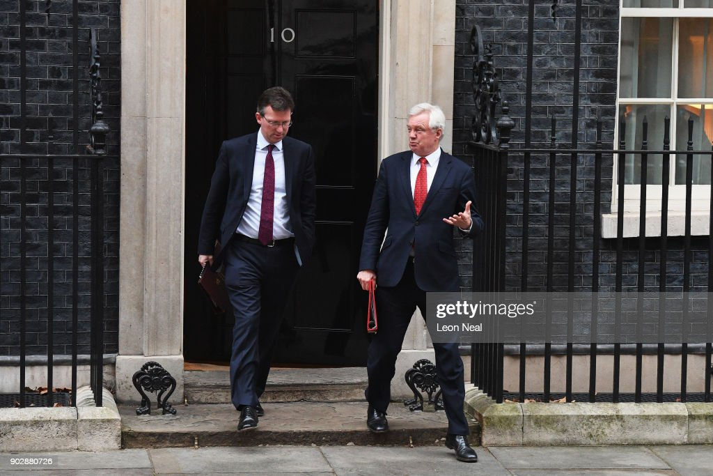 Attorney General Jeremy Wright and Brexit Secretary David Davis leave Number 10 after government ministers attended the first Cabinet meeting of the year at 10 Downing Street on January 9, 2018 in London, England. Theresa May's reshuffled cabinet meets for the first time today. Justine Greening quit the government last night after being moved from Education, she is replaced by Damian Hinds. Health Secretary Jeremy Hunt's role has been extended to include social care, Esther McVey becomes Work and Pensions Secretary and Karen Bradley replaces James Brokenshire as Northern Ireland Secretary.