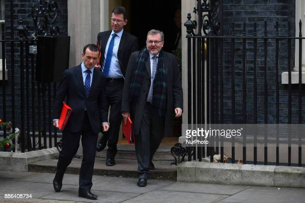 Attorney General Jeremy Wright Wales Secretary Alun Cairns and Scotland Secretary David Mundell leave following the weekly cabinet meeting at Downing...