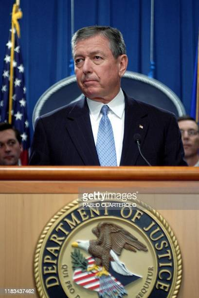Attorney General John Ashcroft announces 07 November during a press conference at the Justice Department in Washington, DC, that Washington-area...