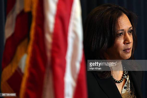 LOS ANGELES CA FEBRUARY 03 2015 Attorney General Kamala D Harris addresses a press conference held to discuss the verdict in the cyber exploitation...