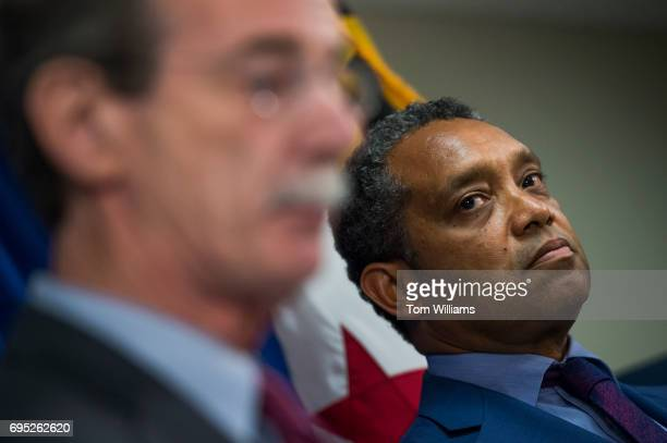 C Attorney General Karl Racine right and Maryland Attorney General Brian Frosh conduct a news conference on a lawsuit they've filed against President...