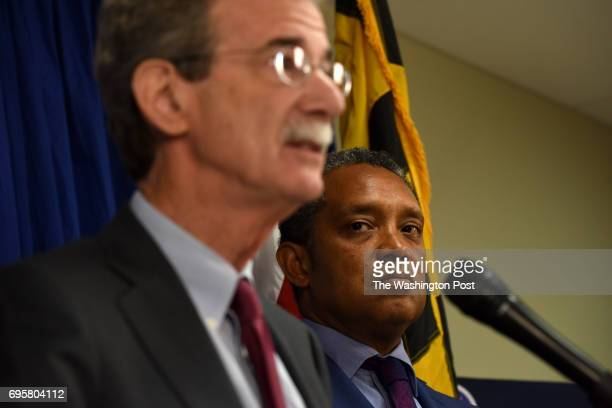 Attorney General Karl Racine right and Maryland Attorney General Brian E Frosh announced that they have filed a federal lawsuit against President...