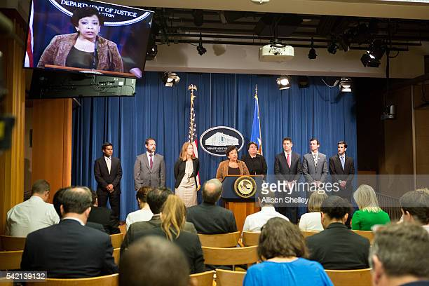Attorney General Loretta E Lynch speaks a press conference joined by other law enforcement officials on June 22 2016 in Washington DC Deputy...